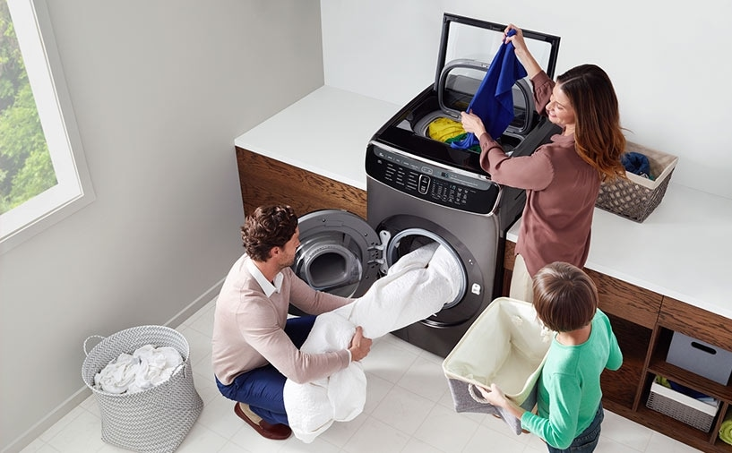 Clockwise from top left: 1. A family of three use the FlexWash's upper and lower washers in their laundry room.