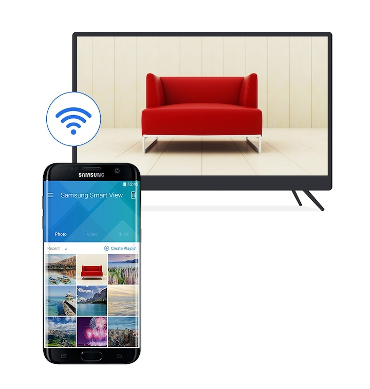 49 inch Full HD flat smart samsung TV with Smart View app Feature
