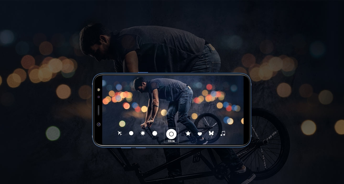 Samsung Galaxy A6+ with Background Blur Shape Feature