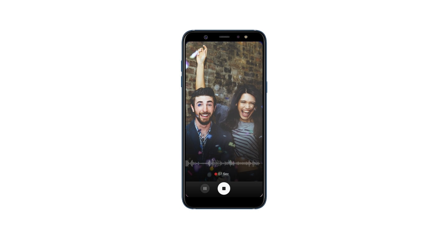 Samsung A6+ phone with Add Music to Memories Feature