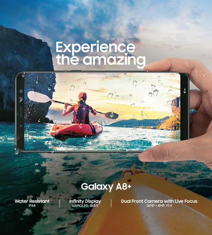 Samsung Galaxy A8+ with IP68 Rating for Water Resistance