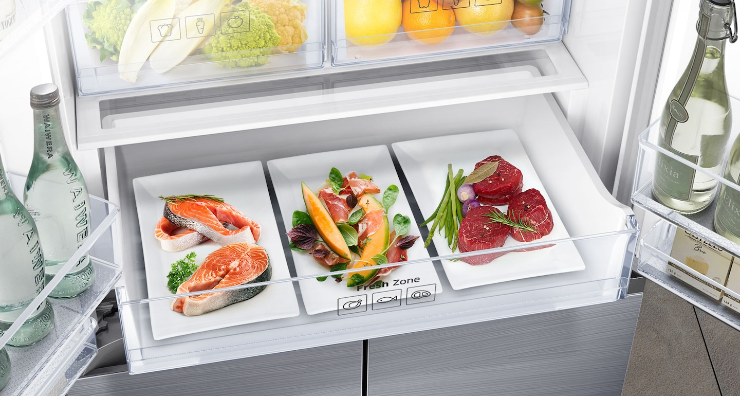 Samsung French Door Refrigerator with Fresh Zone for Meat & Fish Preservation