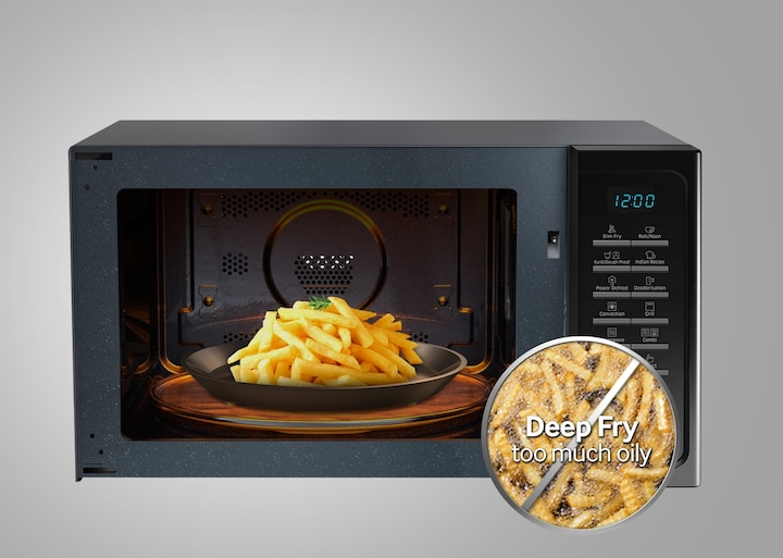 Microwave oven that uses less oil