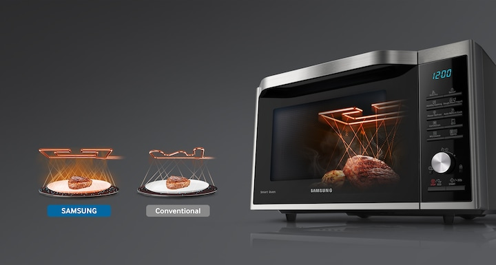 Microwave with wide grill