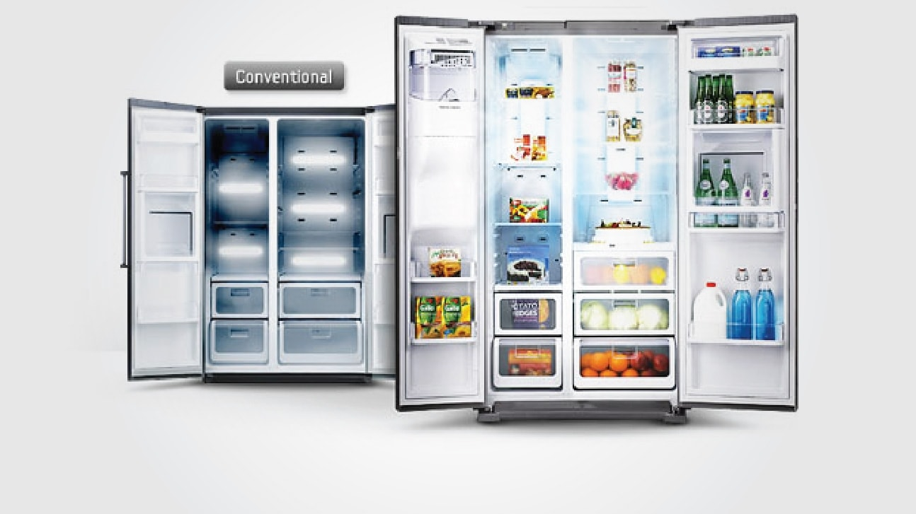 samsung side by side refrigerator 591 l rs552nrua7e samsung india. Black Bedroom Furniture Sets. Home Design Ideas