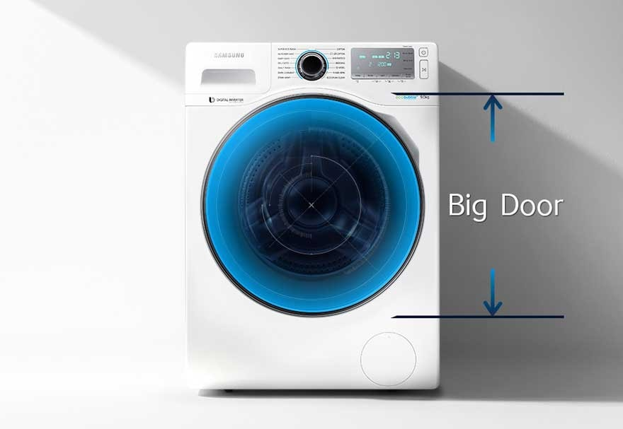 Front load washing machine with big front door