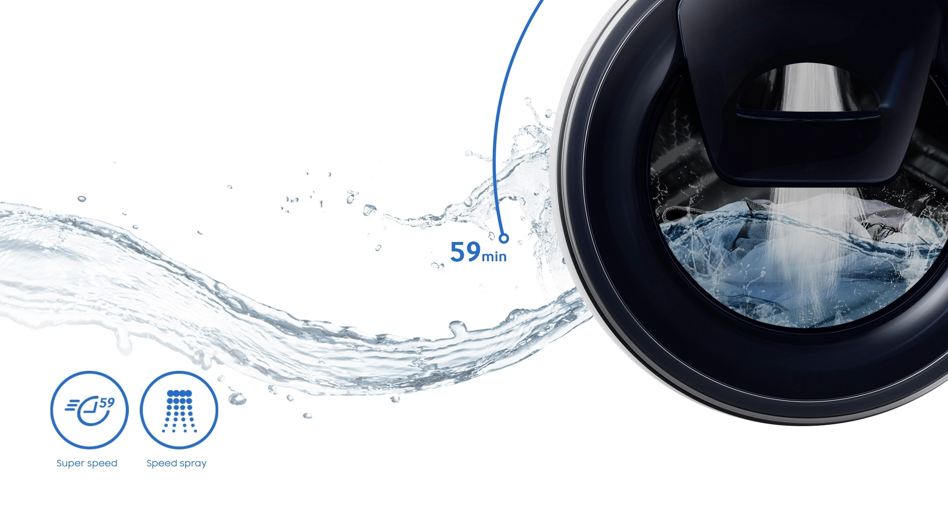 An image showing that the entire washing cycle – including washing, rinsing and drying – takes a total of 59 minutes.