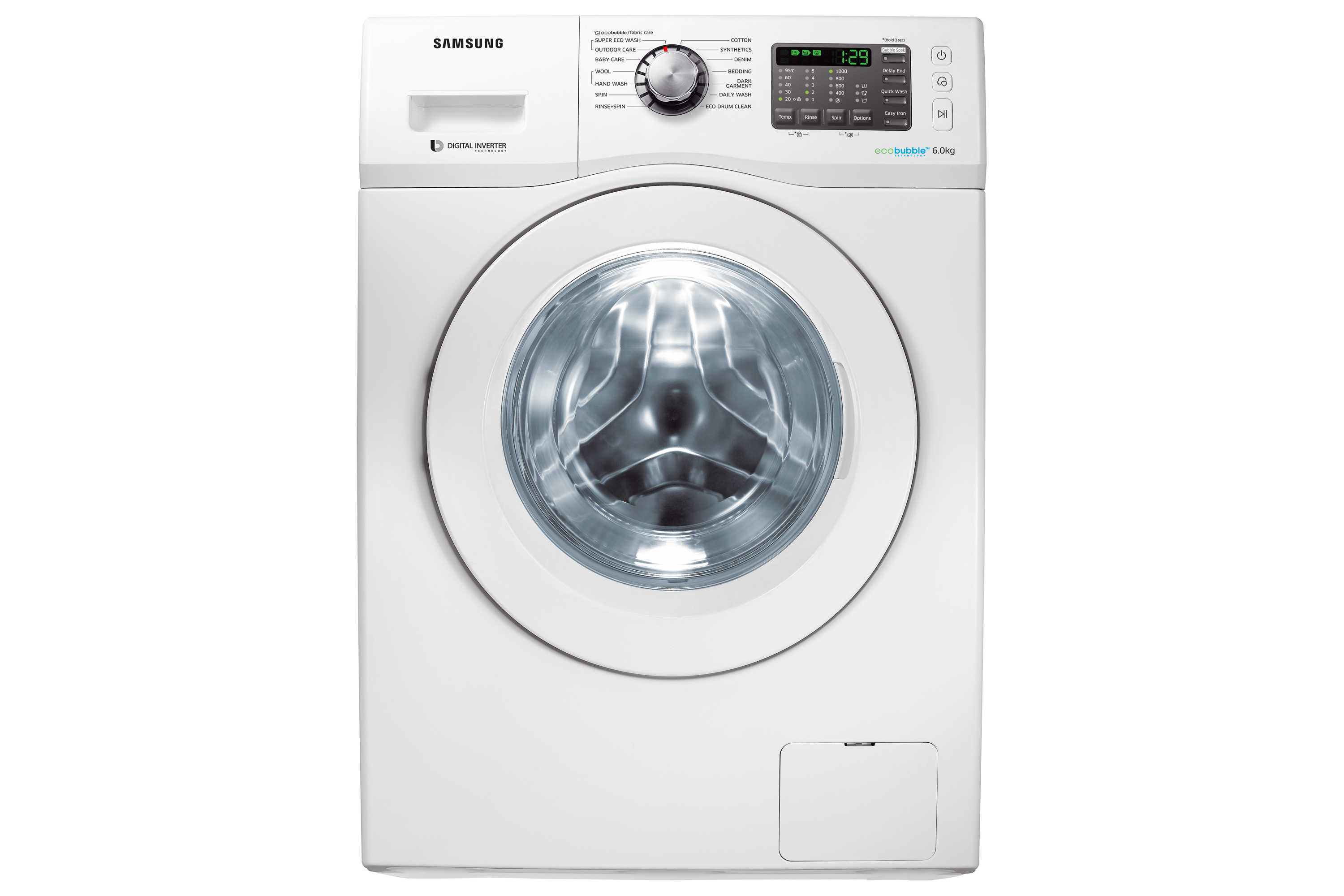 WF600U0BHWQ Front loading with Eco bubble, 6.0 Kg, White