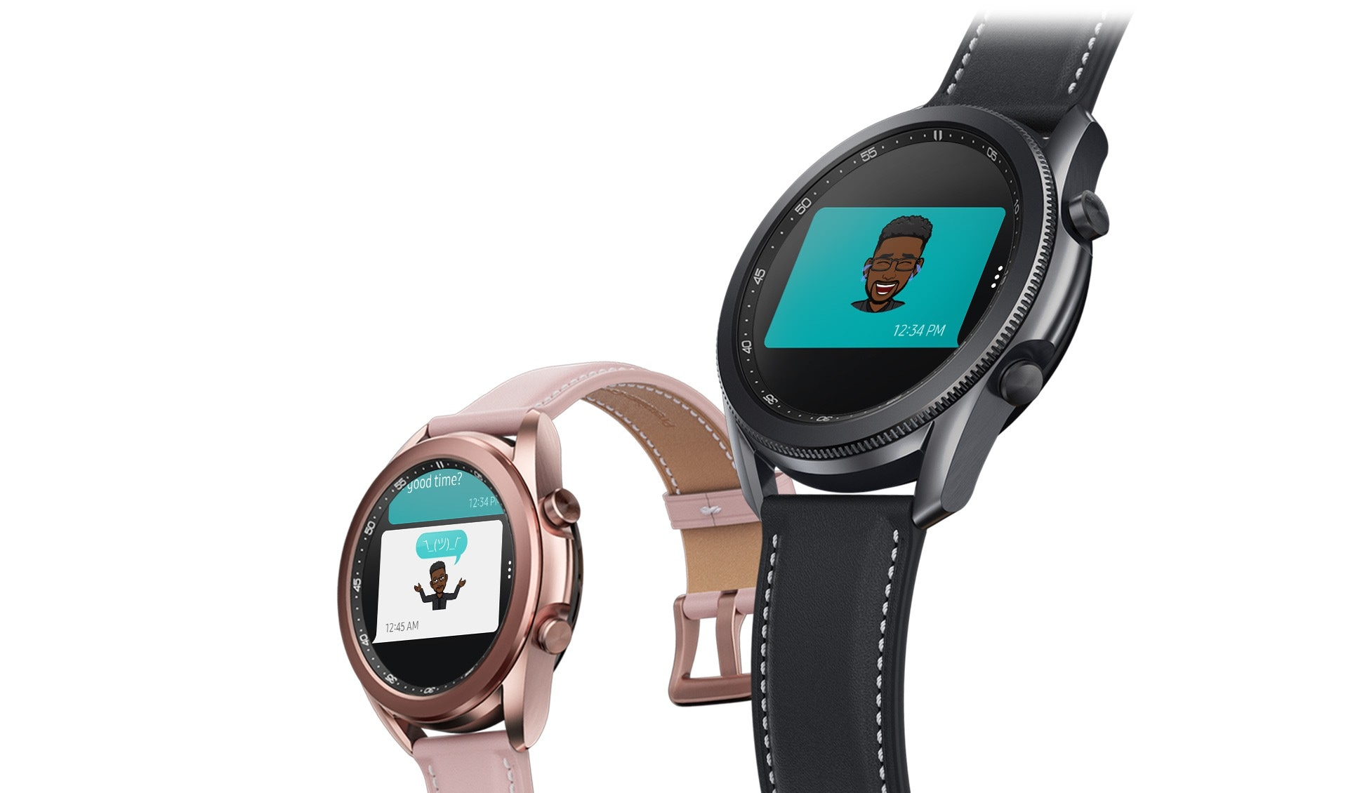 Angled view of 45mm Galaxy Watch3 in Mystic Black and 41mm Galaxy Watch3 in Mystic Bronze. The two show the sending and receiving of Bitmoji emojis through the Message app.
