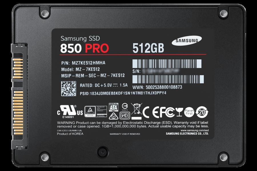 SSD 850 PRO SATA III 2.5pollici  7KE512 Vista Posteriore Nero
