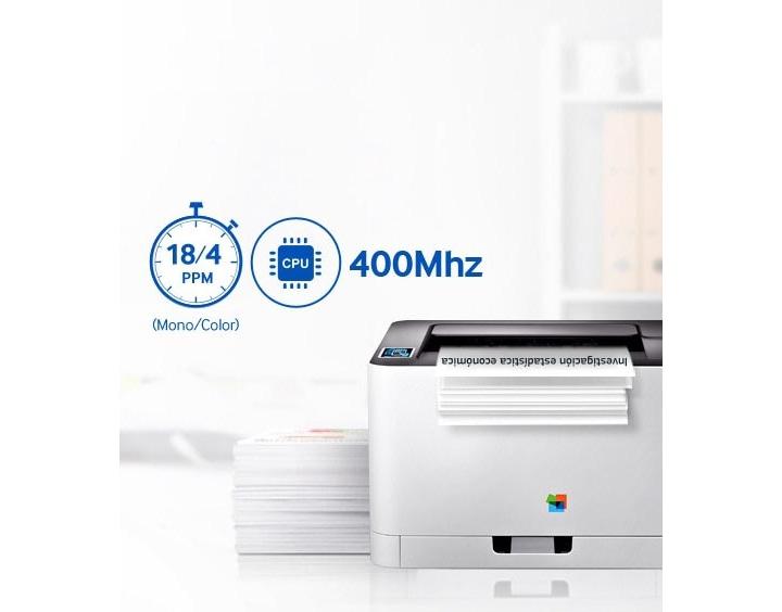 El procesador avanzado de 400 Mhz de la Xpress C430W de Samsung ofrece resultados más rápidos cuando los necesitas, mientras que una velocidad de impresión de 18 ppm hace que puedas alcanzar tu objetivo con movimientos de impresión para trabajos pesados.