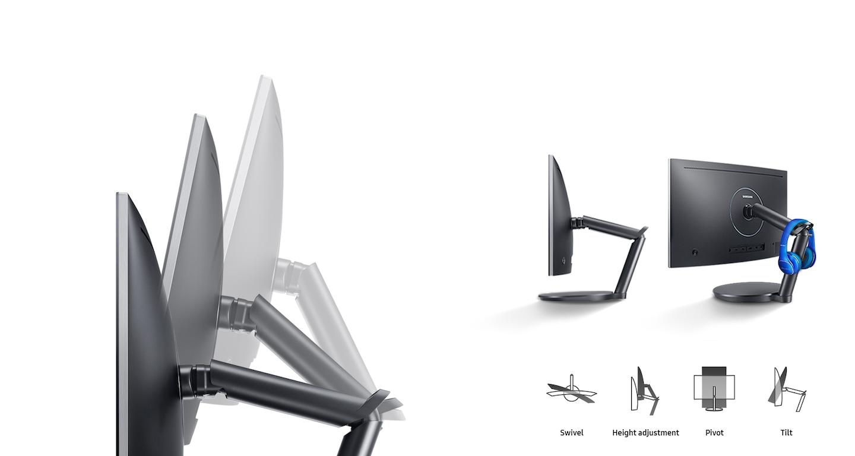 Brazo con doble bisagra ergonómico y sólido para el posicionamiento de la pantalla con precisión