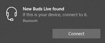 Mostrar la interfaz de usuario de Connect New Buds Live encontrada