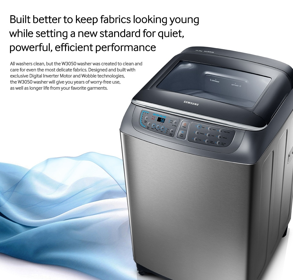 Conventional washers claim to be gentle on your clothes, but the sleek W3050 washer takes fabric care to a new level. Samsung Wobble technology with dynamic ...