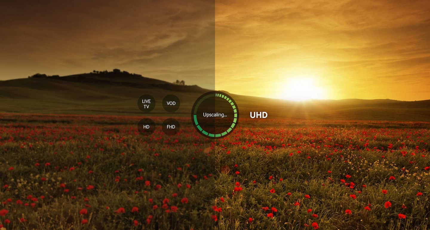Upscale content for vivid image quality
