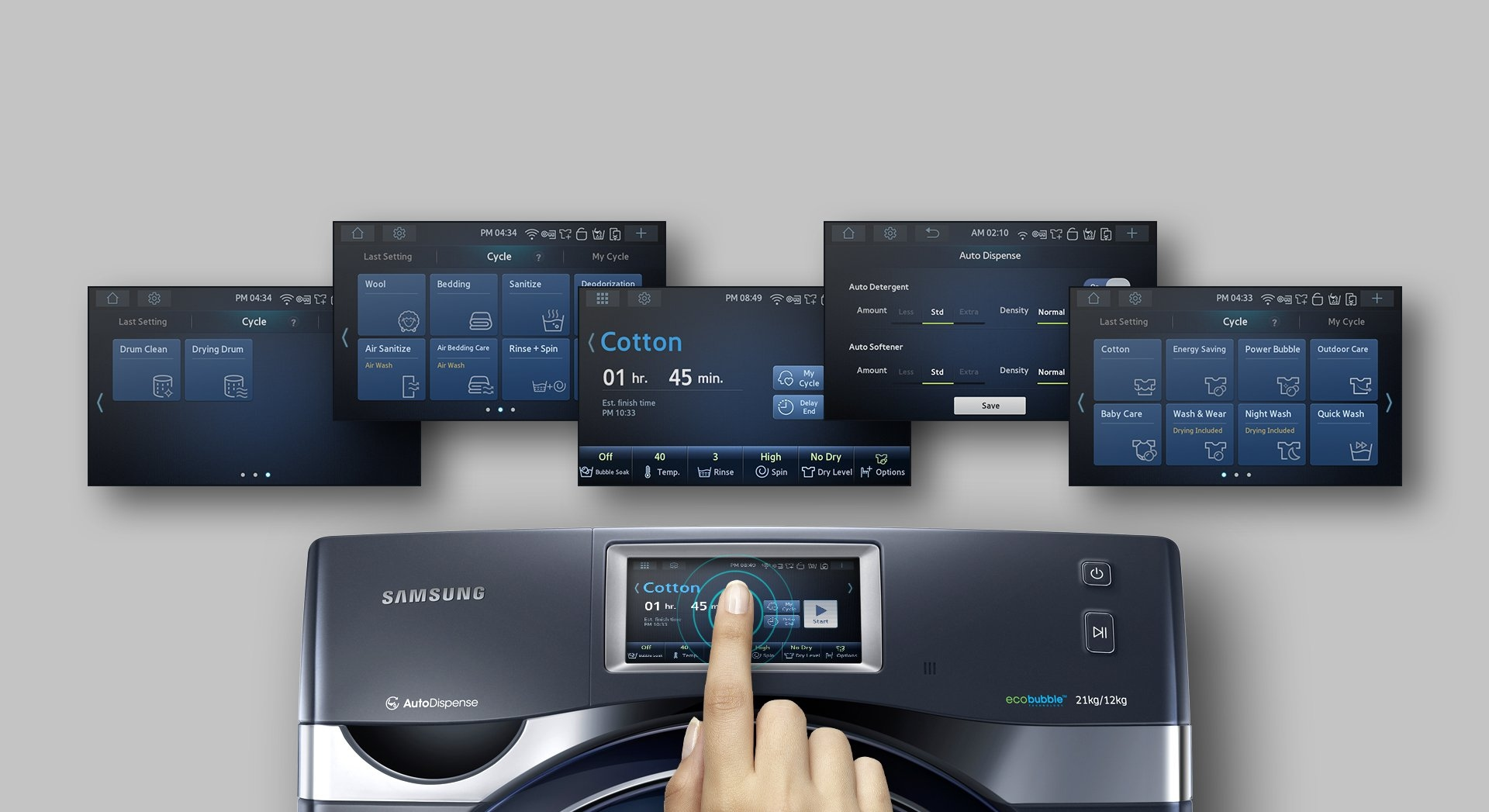 An image showing a user's hand operating the WD9500K Add Wash's touch screen, as well as five screenshots showing some of the commands users can operate using the device.