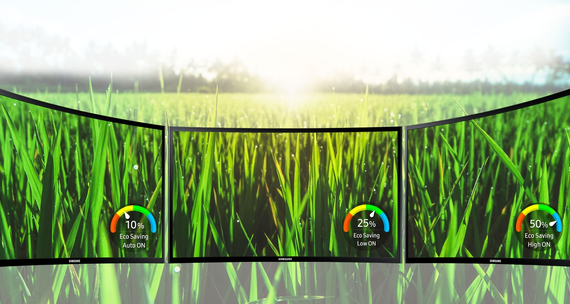 Samsung eco-saving technology reduces energy consumption and environmental impact
