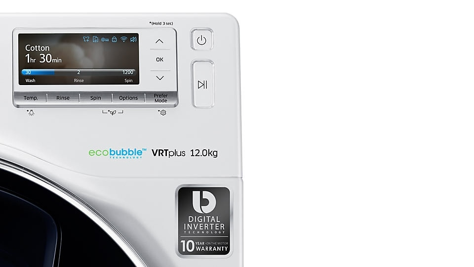 An image showing the Digital Inverter ten-year warranty sticker on the front of the WW8500.