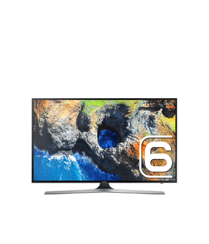 "65"" MU6100 Flat Smart 4K UHD TV: Front Black"