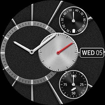 Front view of 45mm Galaxy Watch3 in Mystic Black surrounded by various watch faces, including Analog Modular, Digital Modular, Pattern Classic Watch Faces and weather, My Style, and Off center classic GUIs.