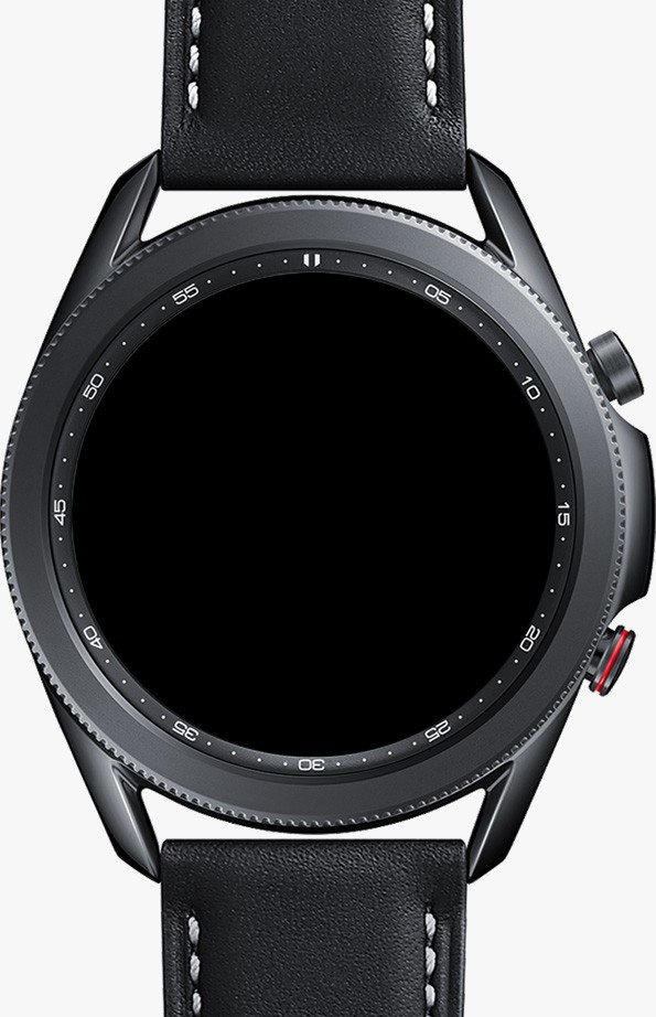 Front view of 45mm Galaxy Watch3 in Mystic Black with LTE function GUIs to show how you can call, message right from your watch.