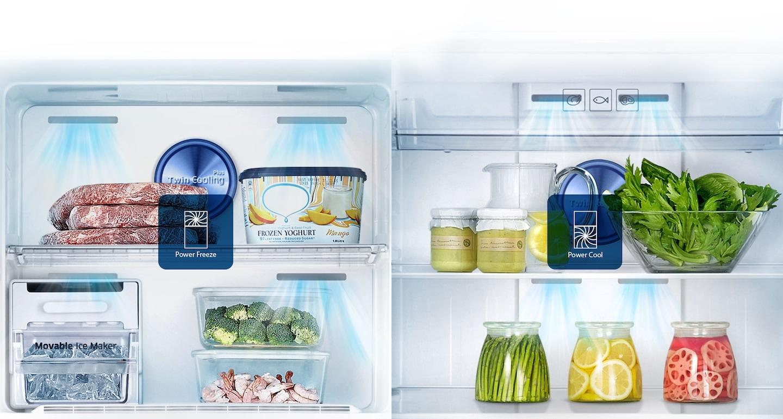 Ce réfrigérateur peut diffuser rapidement de l'air extrêmement froid pour refroidir ou congeler à grande vitesse. Il suffit d'appuyer sur une touche pour que la fonction Power Cool refroidisse très rapidement vos  boissons et aliments, tandis que la fonction Power Freeze est très utile pour congeler ou raffermir les aliments et faire des glaçons.