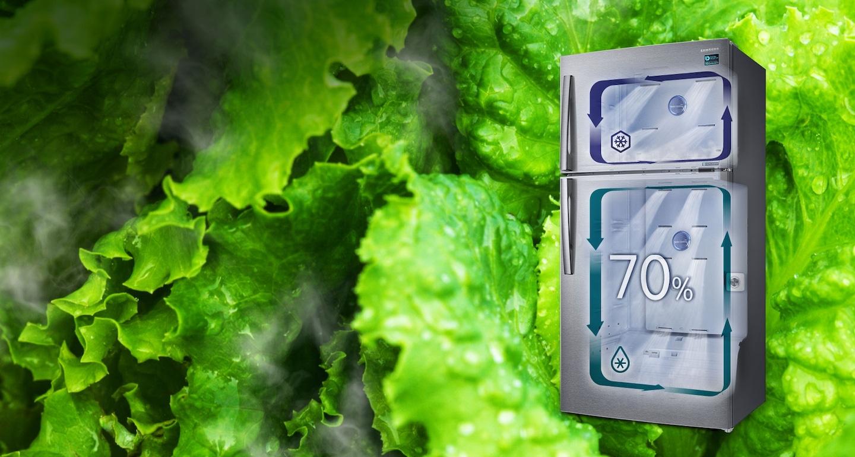 Seule la technologie Twin Cooling Plus™ est capable de créer un environnement qui favorise la préservation des aliments frais dans le réfrigérateur grâce à un taux d'humidité de 70%, contre 30% dans les réfrigérateurs classiques avec congélateur en haut. Cette technologie conserve ainsi plus longtemps la fraîcheur des aliments, sans les dessécher.