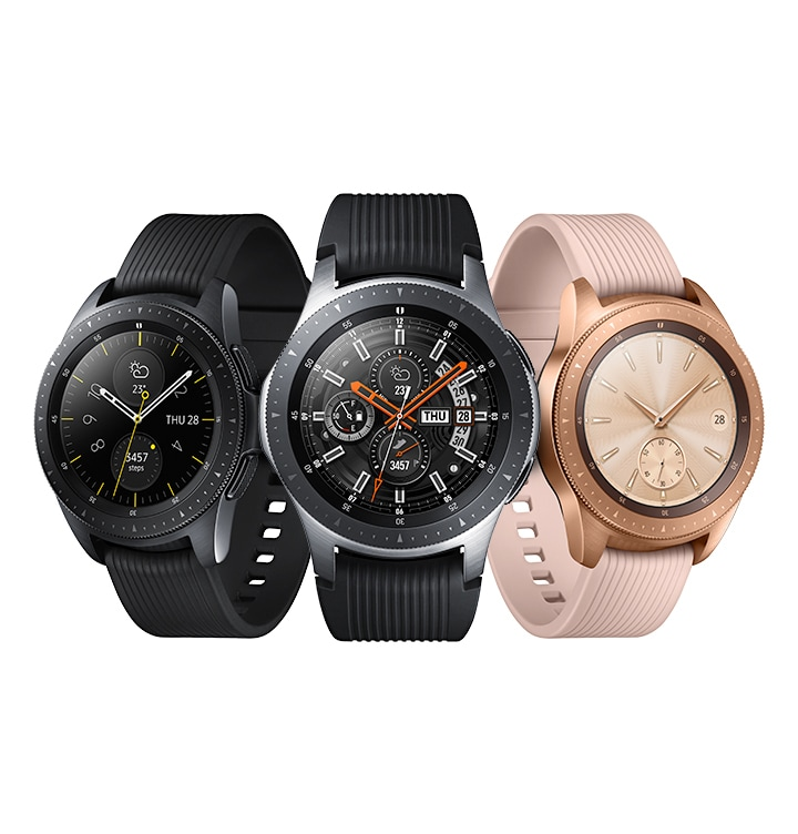 Galaxy Watch 46mm in silver and 42mm in Rose Gold and Black.