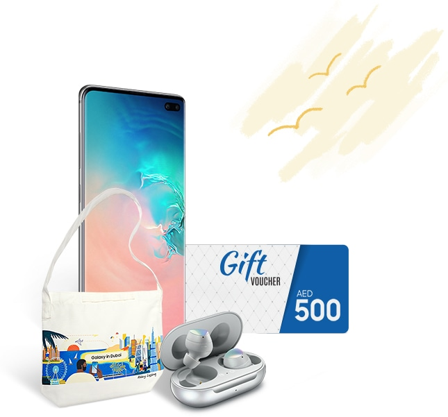 Buy the Galaxy S10 | S10+ and get complimentary Galaxy Buds and an AED 500 gift voucher.