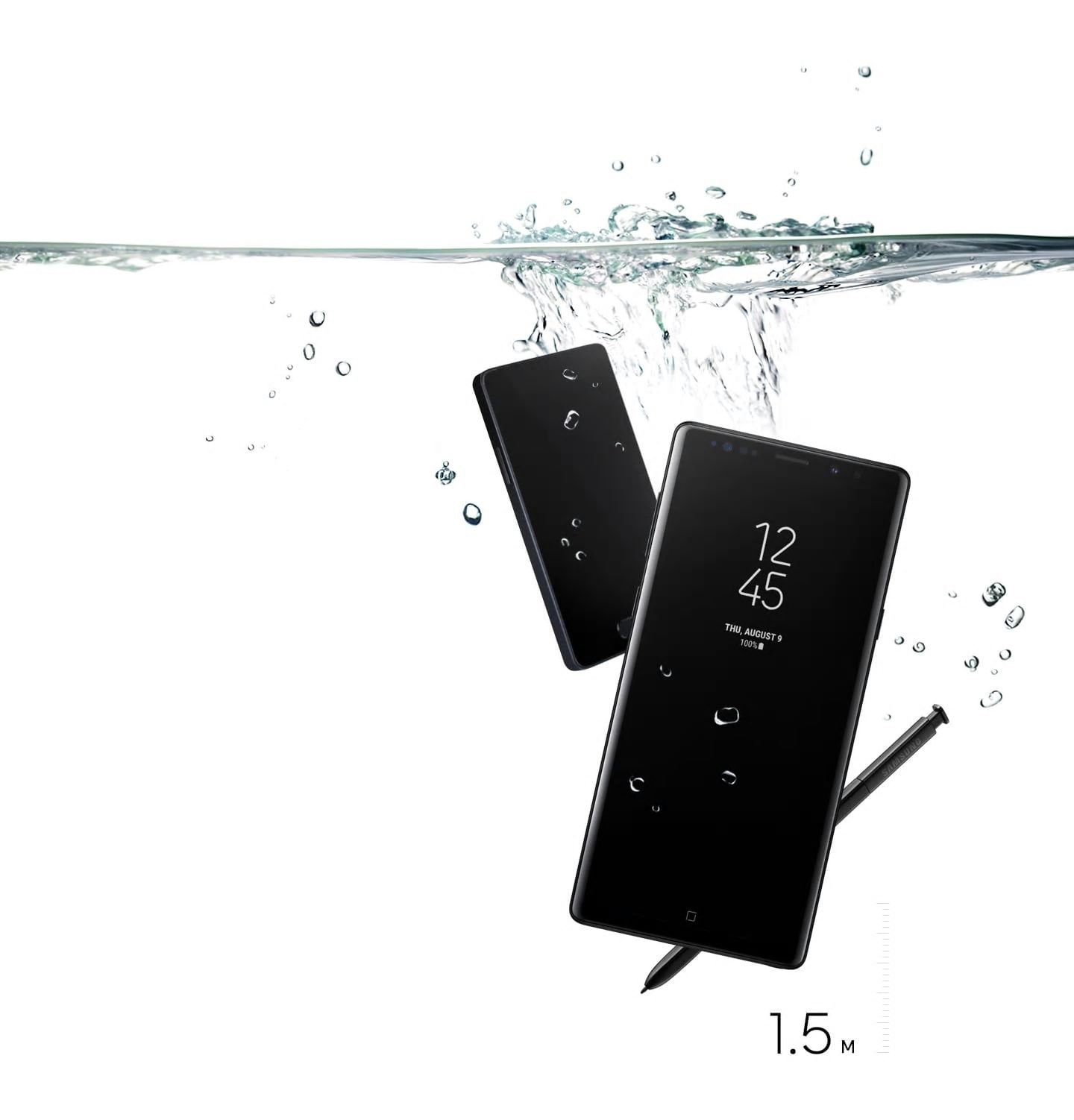 A simulated image of Galaxy Note9 and S Pen underwater up to 1.5meters with the Always On Display on, and another phone in the back with a blank screen