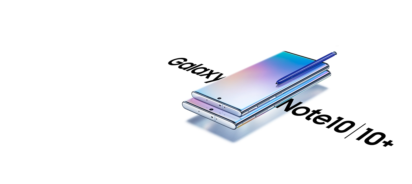 Galaxy Note10 laying on top of Galaxy Note10 plus with a S Pen on top of Galaxy Note10. Each phone has a gradient graphic onscreen and other side of the phones is the text Galaxy Note10 | Note10 plus.