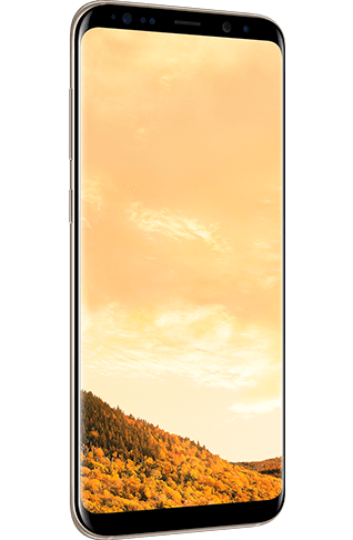 Angled left view of Galaxy S8+ in Maple Gold