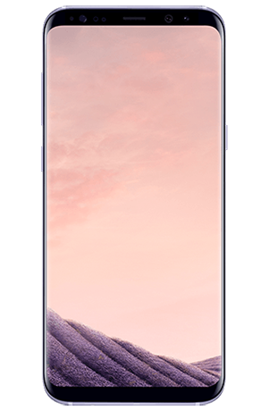 Front view of Galaxy S8+ in Orchid gray
