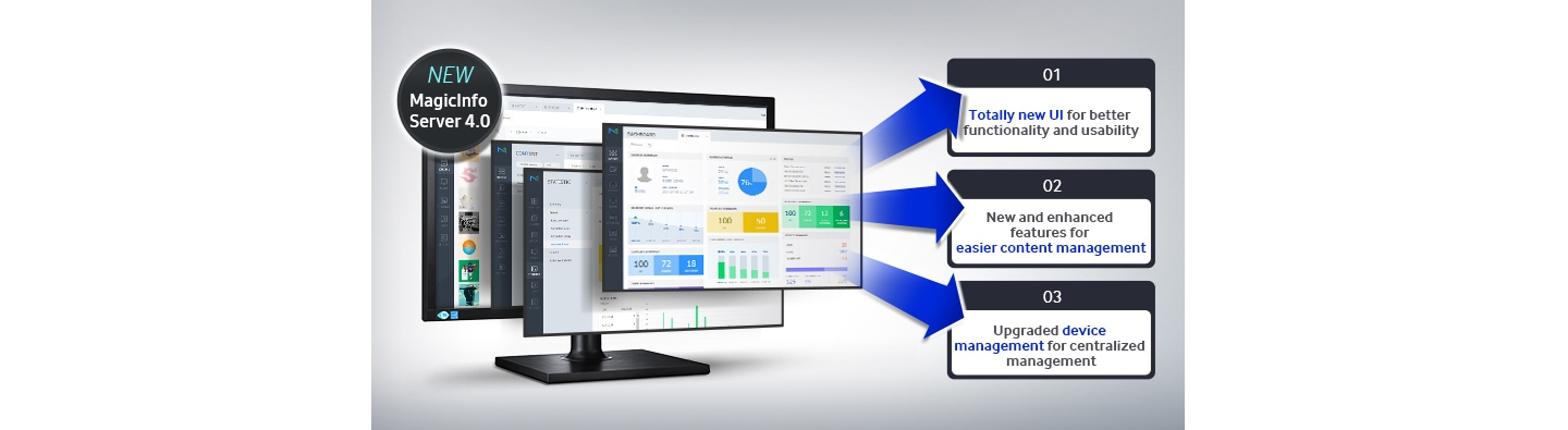 Manage displays and content powerfully with the visually and technically overhauled new MagicInfo™ 4.0