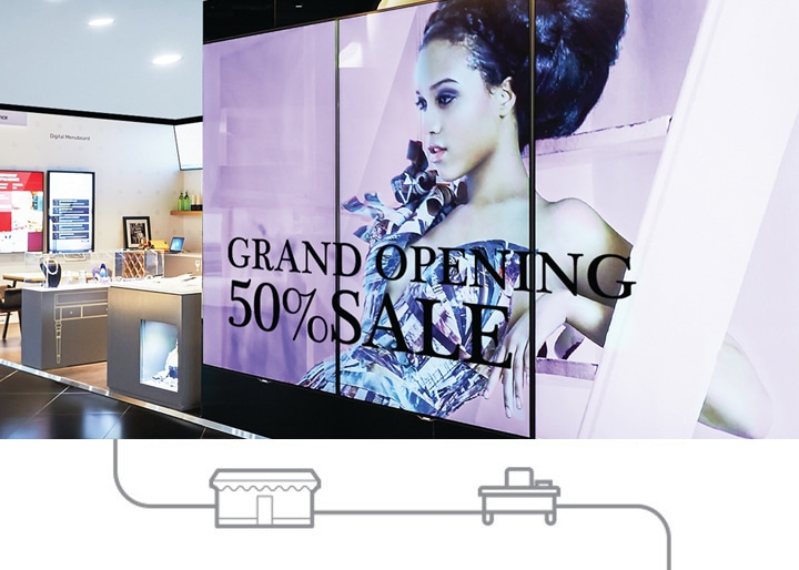 An image of a sale advertisement on a Samsung signage display device in a shopping mall