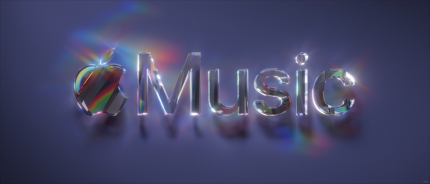A prism Apple Music logo on a purple background.