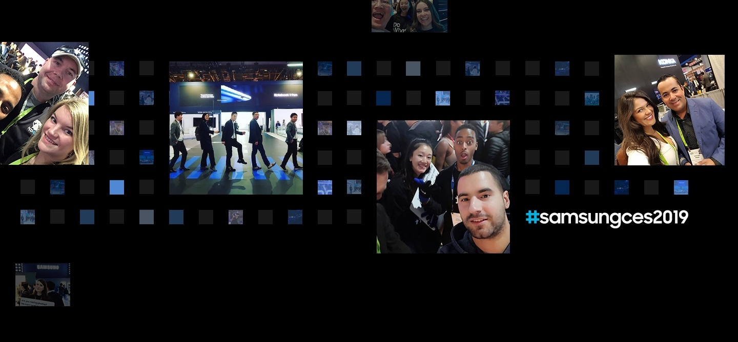 "6 social media post photographs are displayed in front of a digital cube background from the ""Samsung City"" theme at CES 2019."
