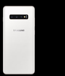 A single product shot showing the back-view of a white Galaxy S10 phone