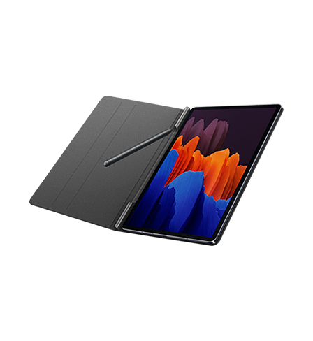 Angled view of Tab S7+ connected to the Galaxy Tab S7 Book Cover, propped open like a book. An S Pen sits on the left side of the BookCover, with the right side showing Tab S7 with a blue, orange, and purple  illustration onscreen.