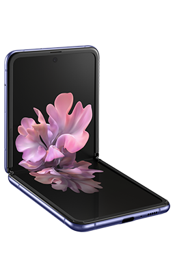 Galaxy Z Flip in Mirror Purple folded to a right angle, seen from the front with the blossoming flower graphic wallpaper onscreen