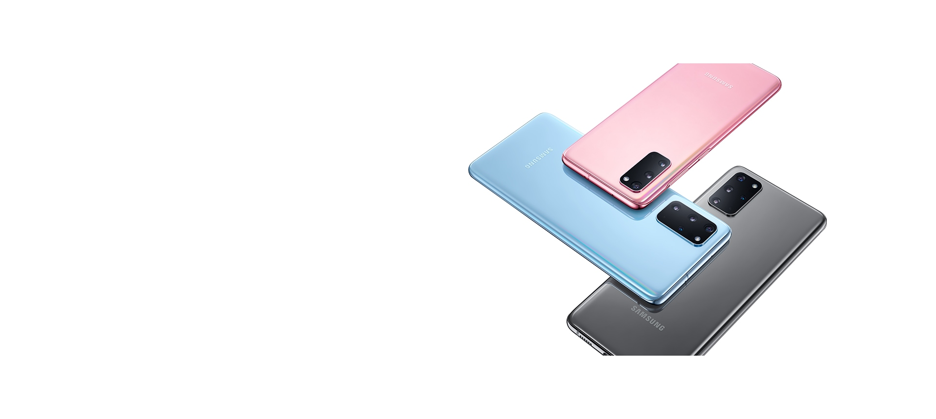 Three Galaxy S20 5G and S20 plus 5G phones, one in Cloud Pink, one in Cloud Blue, and one in Cosmic Gray, all seen from the rear and overlapping in a woven-style design