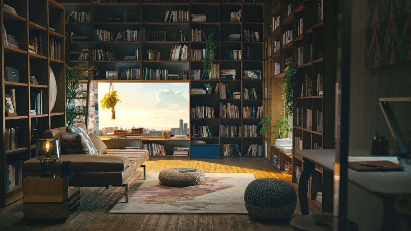 "A stylish private drawing room is shown, complete with floor-to-ceiling bookshelves, a stylish brown leather couch with an area rug in front of it, and a window looking out over a city skyline. Perfectly blending into the scene is Sero, set to portrait mode and its screen showing books on a shelf so that it looks exactly like part of the shelves behind it. At first, you don't even notice the Sero. And then the camera slowly zooms in on it before shifting to a closeup of someone turning the pages on a book. Then it shifts back to the opening scene and, as it continues to close in on Sero, the TV begins to rotate and its screen turns to black. When it has fully transitioned to landscape, we see on its screen a scene of an astronaut in a suit walking in what looks like a Mars-like environment with hills in the background and dust rising as he walks. All the while, the camera is closing in on Sero. Then, the scene shifts one more time to a different angle showing Sero slightly from the left side with the corner of the room as the background. Then the video turns to black and the words, ""the sero"" appear on screen, rotating from a slightly diagonal position to horizontal. Then the Samsung logo appears and the video finishes."
