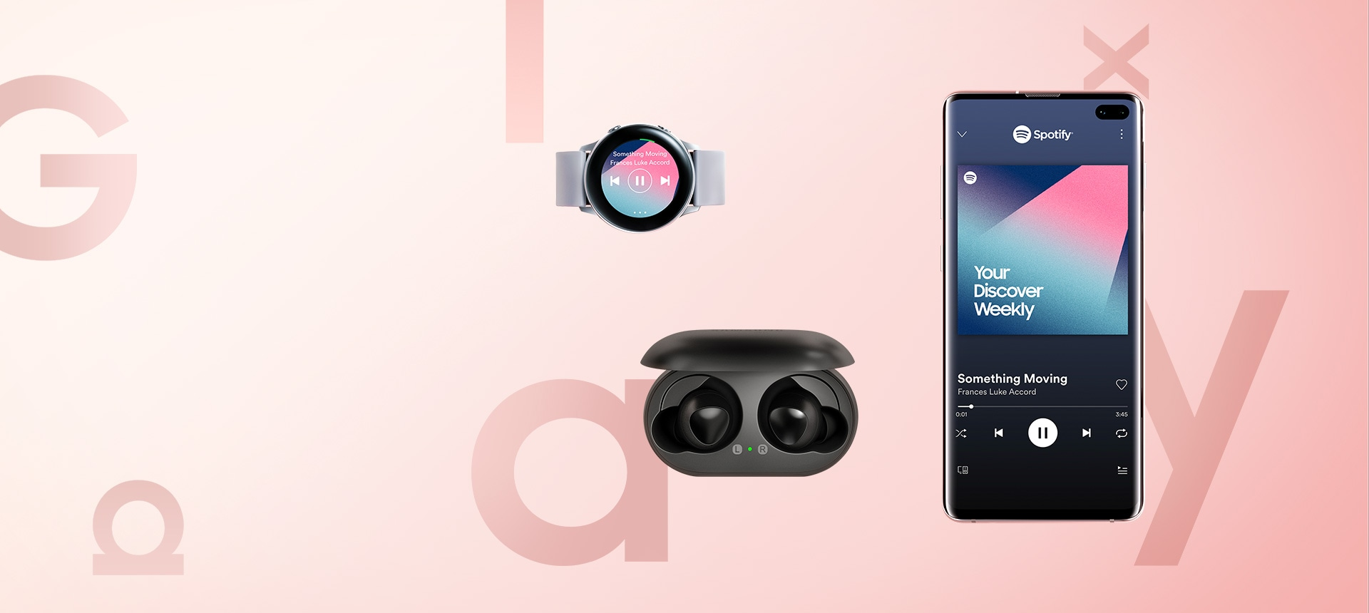 "Galaxy S10 Ecosystem Introduction image. Samsung Galaxy S10 plus, Samsung Galaxy Watch Active, and Galaxy Buds. Galaxy S10 plus has the Spotify interface onscreen, playing a song from the ""Your Discover Weekly"" playlist. Galaxy Watch Active has the Spotify watch app interface onscreen, displaying the same song."