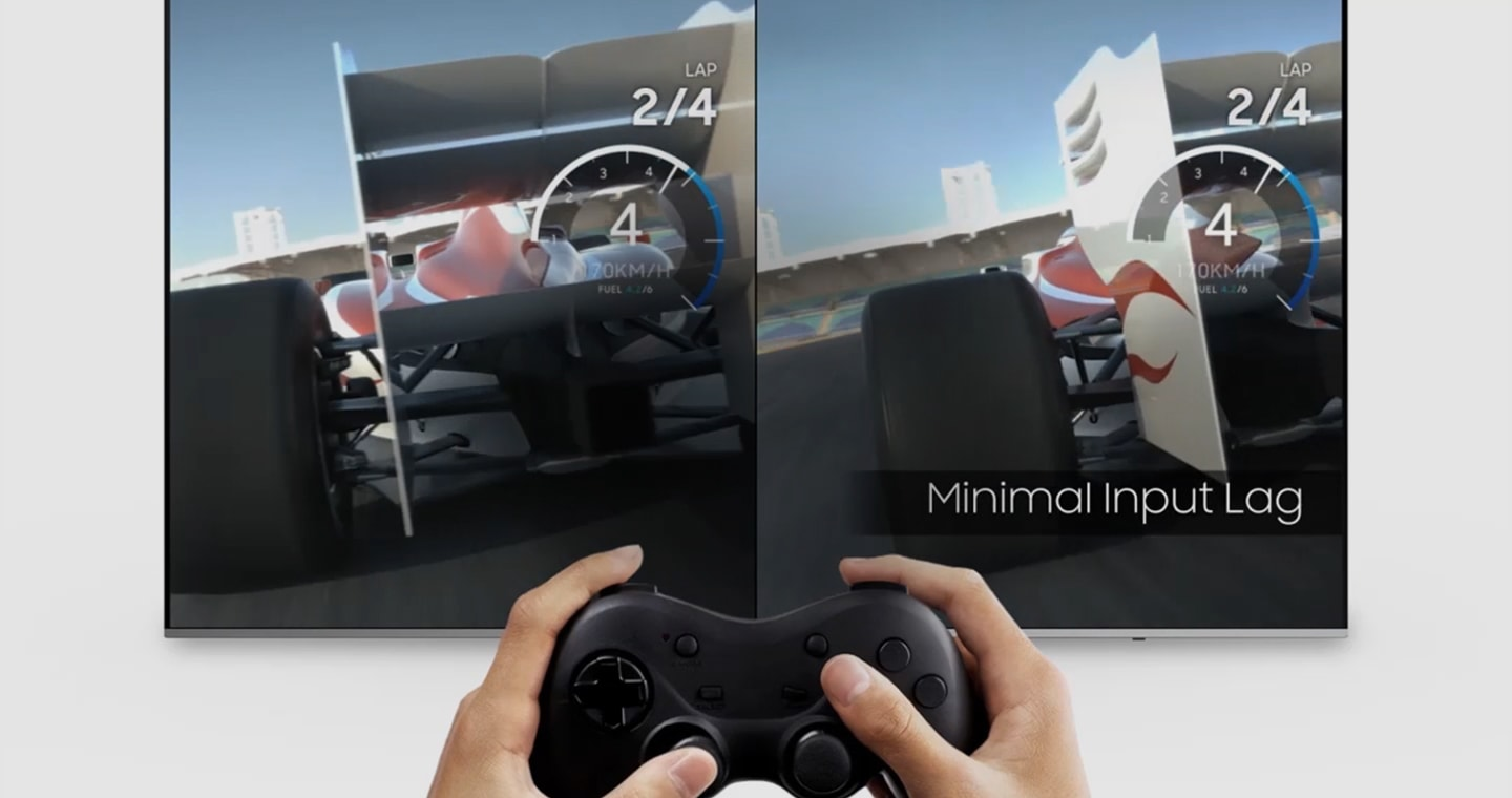 A thumbnail image of a video showing how a game's quality can be better with Samsung Super Big TV's Game Mode. The right side of the screen is the Game Mode, and the other is just normal TV mode. As the input lag is minimized, the user can control the racing car without stuttering. Addition to that, the Game Mode can minimize a game's motion blur and maximize the graphic quality.