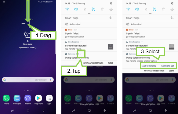 Galaxy S9/S9+: How to change screen mode on the device when you connect with DeX Pad?