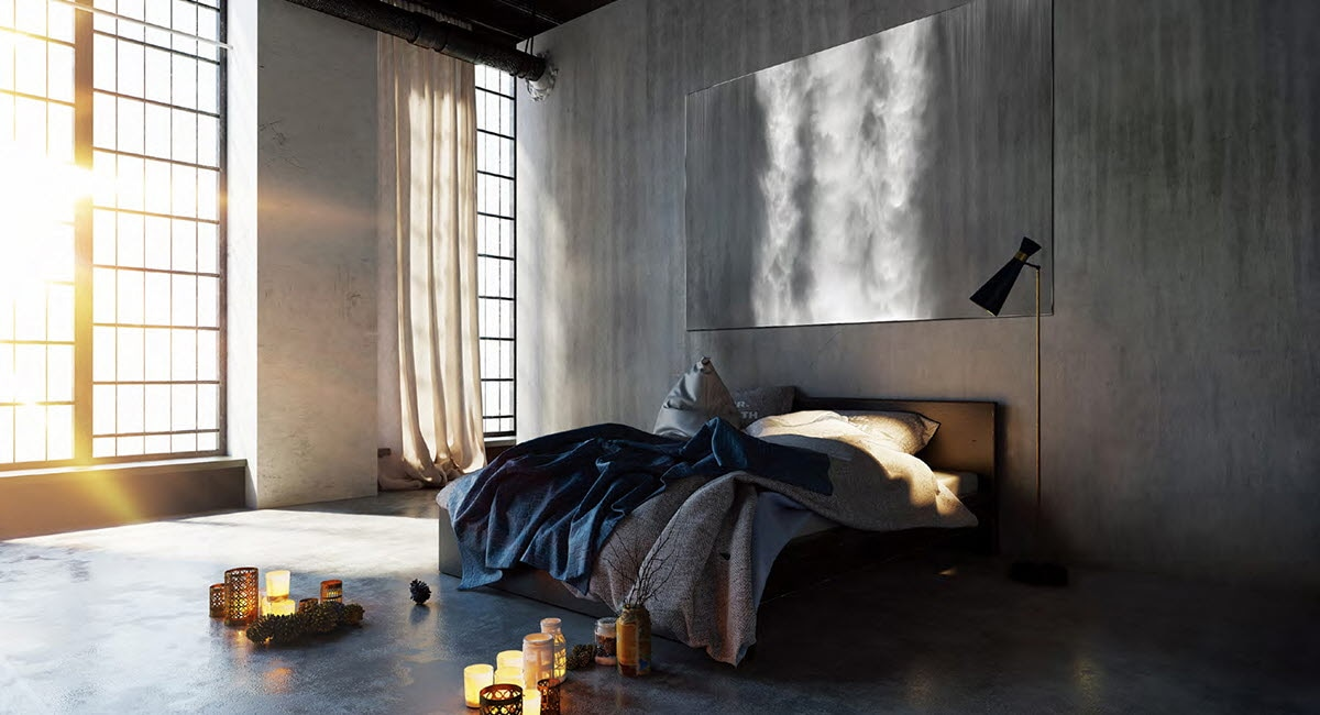 The Wall in a modern luxury apartment bedroom set to a waterfall décor setting
