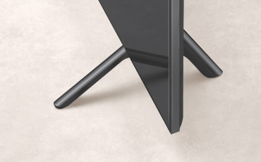 A close up shot of stand from the 2019 new Samsung QLED Q70R. Image shows sleek design of Q70R stand.