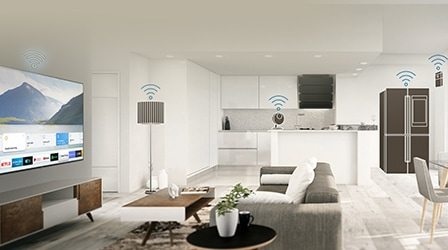 IoT devices placed in living room and kitchen: TV, lamp, camera, refrigerator, and motion sensor.