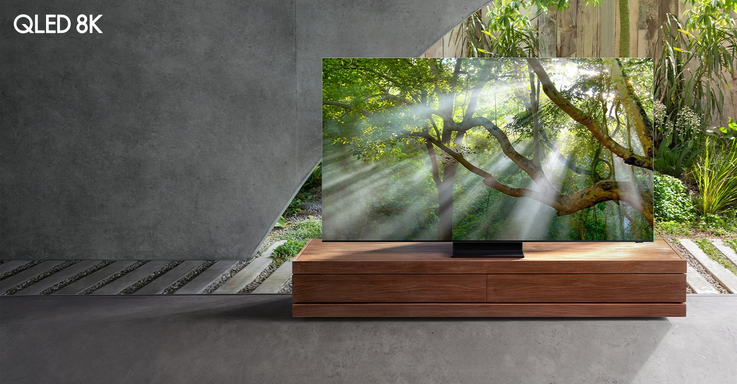 2020 Samsung QLED TV which has complete Quantum Dot technology is standing sideways. And It is showing Unrivaled QLED 8K with Quantum AI icon.