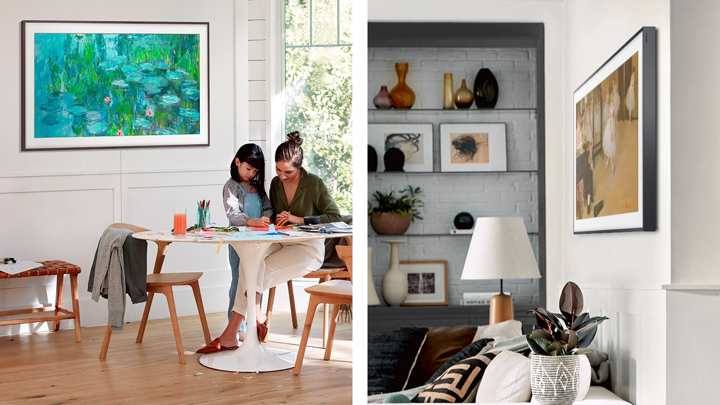 Two Frame TVs displaying art are hanging on walls in different rooms. In one, a mother and daughter are drawing and painting of a beautiful pond is on the wall. In the other, a painting of ballerinas is on a white wall with shelves and decorations.